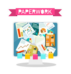 paperwork design on computer screen vector image