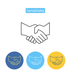 partners handshake outline icons set vector image