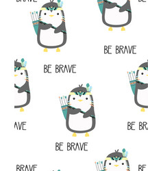 pattern with cute tribal penguin vector image