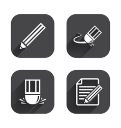 Pencil icon Edit document file Eraser sign vector image