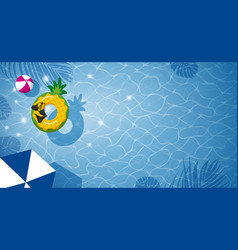 pineapple inflatable in swimming pool vector image