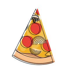 pizza slice in watercolor silhouette on white vector image