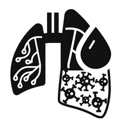 Pneumonia virus lungs icon simple style vector