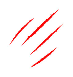 Red bloody four claws animal scratch scrape track vector