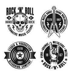 Rock n roll music four emblems labels badges vector