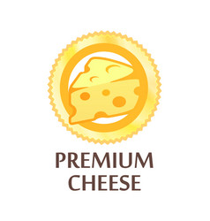 round emblem with swiss cheese premium quality vector image
