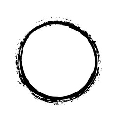round frame grunge textured hand drawn element vector image