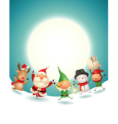 santa claus and friends celebrate christmas vector image