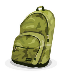 Schoolbag with camouflage patterns vector