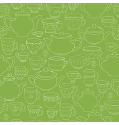 Seamless pattern of the doodle various teapot and vector