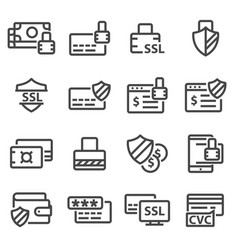Secure payment line icons vector