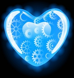 Set of gear wheels in blue heart vector image