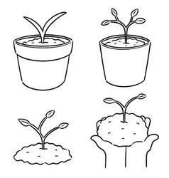 set of planting tree vector image