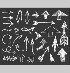 set white chalk arrows different shapes vector image