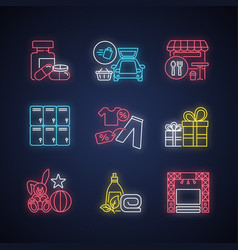 shopping mall products neon light icons set vector image