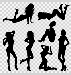 silhouettes sexy girl vector image