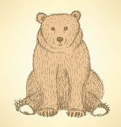 Sketch cute bearl in vintage style vector image
