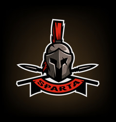 spears and spartan battle helmet logo vector image