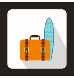 Suitcase and surfboard icon flat style vector image