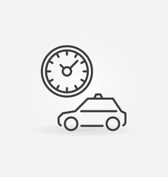 taxi with clock ot timer concept outline vector image
