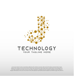 Technology logo with initial j letter network vector