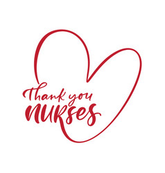 Thank you nurses red lettering text and vector