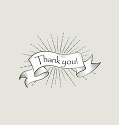 Thank you sign engraving lettering flag banner vector