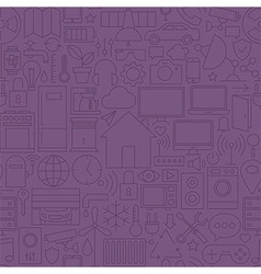 Thin Home Technology Seamless Dark Purple Pattern vector image
