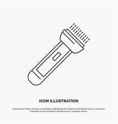 Torch light flash camping hiking icon line gray vector