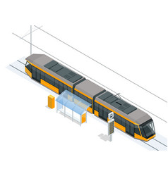tram on the stop tram stop isometric icon set vector image