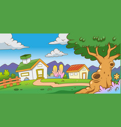Two house and tree on mountain with green grass vector