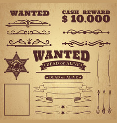 wanted poster wild west vintage criminal search vector image