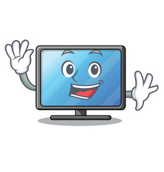 waving lcd tv above wooden cartoon table vector image