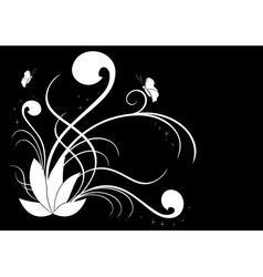 white flora on black vector image