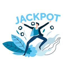 winner jackpot and casino gambling games poker vector image