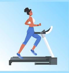 woman running on treadmill african american girl vector image