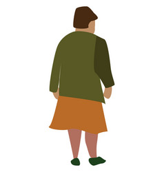 Woman with orange skirt on white background vector