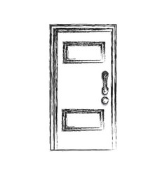wooden door entrance closed sketch vector image