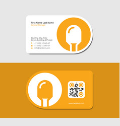 Yellow business card with lightbulb vector
