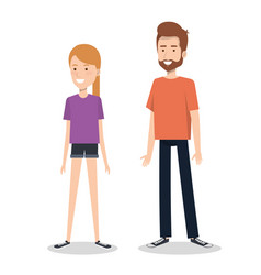 Young couple character standing people vector