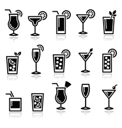 Cocktails drinks glasses icons set vector image vector image