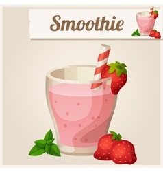 Detailed Icon Strawberry smoothie vector image vector image