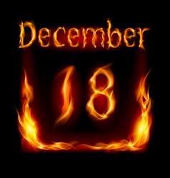 eighteenth december in calendar of fire icon on vector image vector image
