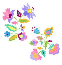 fantasy flowers embroidery pattern set vector image vector image
