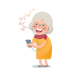 Happy Old Woman Listen the Music vector image vector image