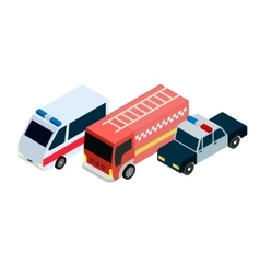 Isometric rescuers cars icons vector image