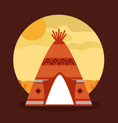 landscape desert with teepee home native american vector image