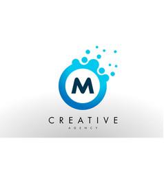 m letter logo blue dots bubble design vector image