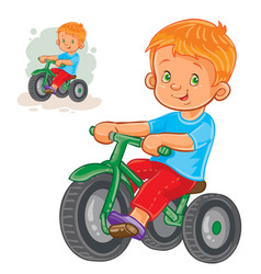 Small boy ride tricycle vector