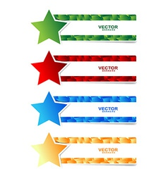 star banner set with 3d cubbes shape vector image